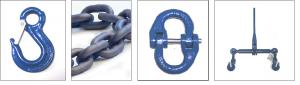 Kæder og tilbehør – Kædeslyng i mange varianter, samleled, kroge, sjækler, bolte, løftebeslag, kædestrammere m.m.